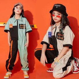 キッズダンス衣装 オーバーオール つなぎ キッズ HIPHOP ヒップホップ 子供衣装 舞台衣装 ステージ K-POP キッズダンス衣装 ファッション ツナギ 作業服 男の子 韓国 派手