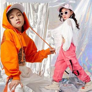 へそ出し キッズダンス衣装 トップス 子供 豹柄タンクトップ セットアップ 3点セット カーゴパンツ ヒップホップ ダンス衣装 キッズ K-POP 韓国 オレンジ ピンク ホワイト 白 派手 応援団 練習