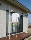 エクステリアポール ウッド 2.0m〜3.4m 伸縮式 (38687)屋外用突っ張りポール物干しに園芸に何でもOK!別売りのパー…