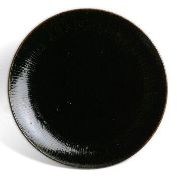 あめ釉線刻皿・7寸・杉本寿樹