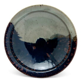 唐津焼:朝鮮唐津かけ分け六寸五分皿・中村恵子《中皿・20.0cm》