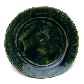 緑がいろいろ・・・。織部4.5寸◎皿・有松進