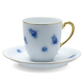 磁器:バラ文岡染めコーヒー碗皿・大倉陶園《コーヒーカップ・皿セット・140ml》