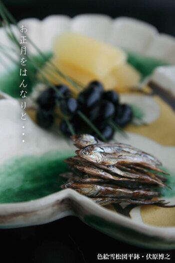 京焼:色絵雪松図平鉢・伏原博之《大皿・26.5cm》