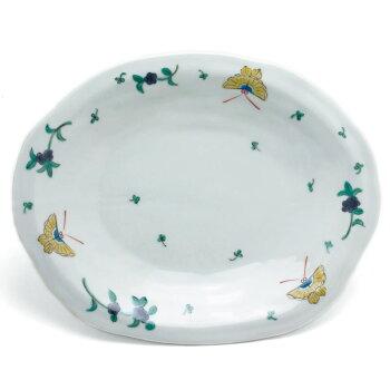 蝶文8寸楕円皿・九谷美陶園
