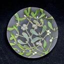 ガラス:絵付け豆皿・やどりぎ・金彩・d.Tam《豆皿・8.0cm》
