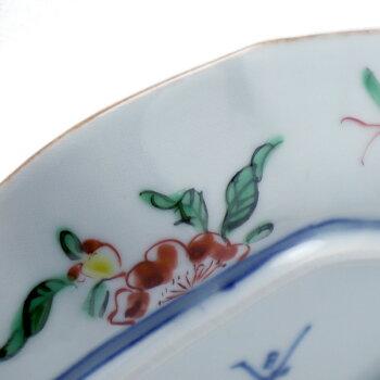 九谷焼:色絵花折枝文菱形向付・正木春蔵《小皿・向付・扁形皿・銘々皿・16.0cm》