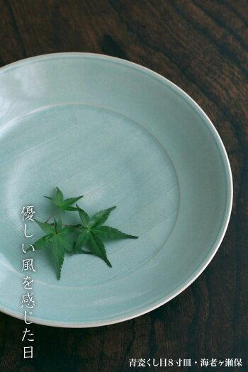 青磁:青瓷くし目8寸皿・海老ヶ瀬保《大皿・盛り皿・24.6cm》