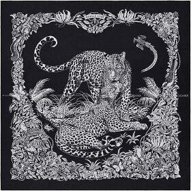 """【ご褒美に★】HERMESエルメスショールカレ140""""ジャングル・ラブ""""ブルーX黒(ブラック)X白(ホワイト)カシミヤ70%Xシルク30%新品(Carre140Shawl""""JungleLove""""/Noir(Black)/Blanc(White))【あす楽対応】#yochika"""