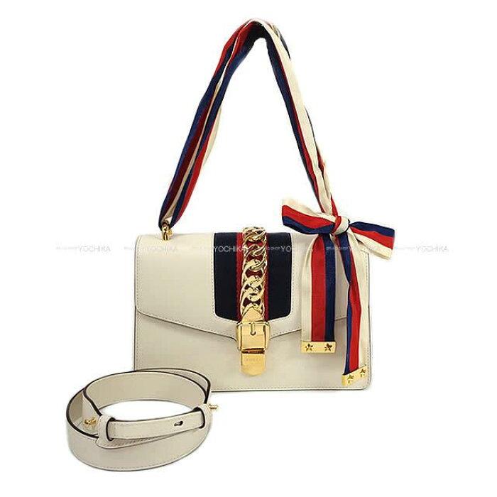 Gucci グッチ 2way シルヴィ スモール ショルダーバッグ 421882 オフホワイト スムースレザー 新品同様【中古】 ([Pre-loved]Gucci 2way Sylvie Small Shoulderbag Off White Smooth Leather 421882[Near mint][Authentic])【あす楽対応】#yochika