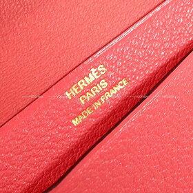 【ご褒美に★】HERMESエルメスベアンミニコインケース付カードケースローズリップスティックシェーブルゴールド金具新品