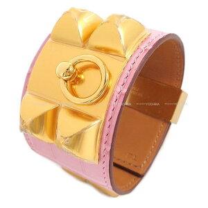"HERMES エルメス メドールブレスレット バングル ""コリエドシアン (CDC)"" バブルガム ピンク クロコダイルアリゲーターマット ゴールド金具 #T2 新品 (HERMES Bracelet ""COLLIER DE CHIEN"" Bubble gum Pink Crocodil"