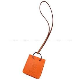 "HERMES エルメス バッグチャーム ミニショッピングバッグ モチーフ ""サック オランジュ"" フーオレンジ/ゴールド アニューミロ Y刻印 新品 (HERMES bag charm Mini Shopping bag""Sac Orange"" Feu Orange Y)【あす楽対応】#yochika"