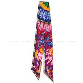 """【ご褒美に★】HERMES エルメス ツイリー スカーフ """"ブラジル"""" プルーンXソレイユXインディゴ シルク100% 新品未使用 (HERMES Twilly Scarf """"Brazil"""" Plume/Soleil/Indigo Silk100%[Never used][Authentic])【あす楽対応】#yochika"""