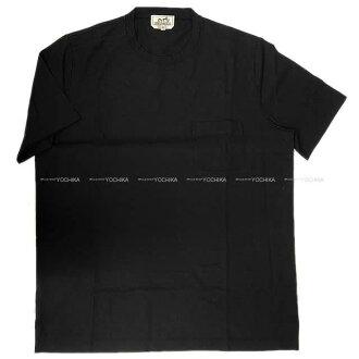 Short sleeves #XL black (black) cotton 100% new article (HERMES Men's T-Shirt Tee Pocket #XL Noir(Black) Cotton100%[Brand new][Authentic])#yochika with HERMES Hermes men T-shirt pocket