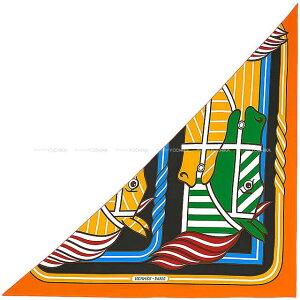 """【値下げ!】 HERMES エルメス スカーフ トライアングル ジェアン 三角カレ """"カドリージュ・バヤデール"""" 黒(ブラック)XブトンドールXヴェール シルク100% 新品 (2019 S/S HERMES Scarf Giant Triangle Carre """"Q"""