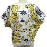 "HERMESエルメスレディースブラウスドルマンスリーブプリント""レオパード""#34白(ホワイト)XイエローX黒(ブラック)コットンAランク【中古】([Pre-loved]Lady'sBlouseDolmanSleevePrint""LesLeopards""#34Blanc(White)/Yellow/Noir(Black)Cotton)"