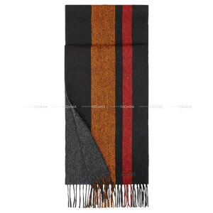 "HERMES エルメス マフラー ""ECHARPE COLLEGE"" 黒(ブラック)/オレンジ/ルージュ/グリス カシミヤ100% 新品 (HERMES Reversible Muffler ""ECHARPE COLLEGE"" Black/Orange/Rouge/Gris Cashmere100%[Brand New][Authentic])【あす楽対応】#y"
