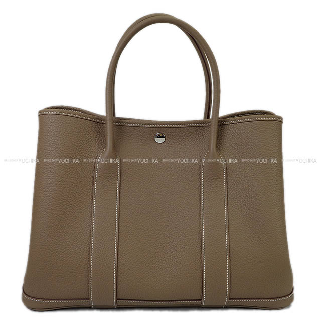 【Xmasギフトに★】HERMES エルメス トートバッグ ガーデンパーティ 36 PM エトープ (エトゥープ) ネゴンダ(オールレザー型押し) シルバー金具 A刻印 新品 (HERMES Handbag Garden Party Bag 36 PM Etoupe Negonda SHW [Brand new][Authentic])【あす楽対応】#yochika