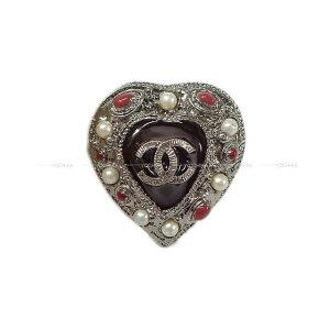 【値下げ!】CHANEL ハートモチーフ ココマーク ランダム パール ボリューム リング 指輪 シルバー/レッド #13号 ガンメタルシルバー金具(2011 CHANEL Heart Motif Random Pearl Volume Ring Silver/Red)【あす楽