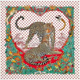 """2020年 春夏限定 バレンタインコレクション HERMES エルメス スカーフ カレ90 """"ジャングルラブラブ"""" ハート柄 白/ルージュ/ヴェール シルク100% 新品 (2020 Valentine Collection HERMES Scarf Carre 90 """"Jungle Love Love"""" [Brand new][Authentic])【あす楽対応】#yochika"""