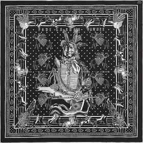 """【キャッシュレスポイント還元★】HERMESエルメススカーフカレ90ダブルフェイス""""パウニー族の首長""""黒/マリンシルク100%新品(HERMESScarfCarre90Doubleface""""PaniLaSharPawnee""""Black(Noir)/MarineSilk100%[Brandnew][Authentic])【あす楽対応】#yochika"""