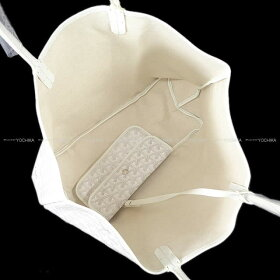 """【冬のギフトに!】GOYARDゴヤールトートバッグ""""サンルイPM""""白(ホワイト)PVCコーティングキャンバス×カーフシルバー金具新品未使用(GOYARDBag""""SAINTLOUIPM""""White(Blanc)Carf/PVCCoatingcanvas[Neverused])【あす楽対応】【楽ギフ_包装】#yochika"""