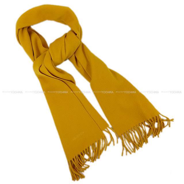"""【新作続々入荷中★】HERMES エルメス ロゴマフラー """"Unie Brod'ee"""" マスタード カシミヤ100% 新品同様【中古】 ([Pre Loved]HERMES Hermes logo muffler """"Unie Brod'ee"""" Moutarde Cashmere100% [Near Mint][Authentic])【あす楽対応】#yochika"""