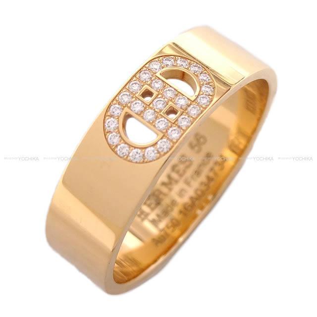 """【新作続々入荷中★】HERMES エルメス 指輪 リング """"H ダンクル"""" PM ローズゴールド 18K ダイヤモンド #56(16号) 新品同様【中古】 ([Pre Loved]HERMES Ring """"H D'ancre"""" PM K18RG Diamond #56 [Near Mint][Authentic])【あす楽対応】#yochika"""