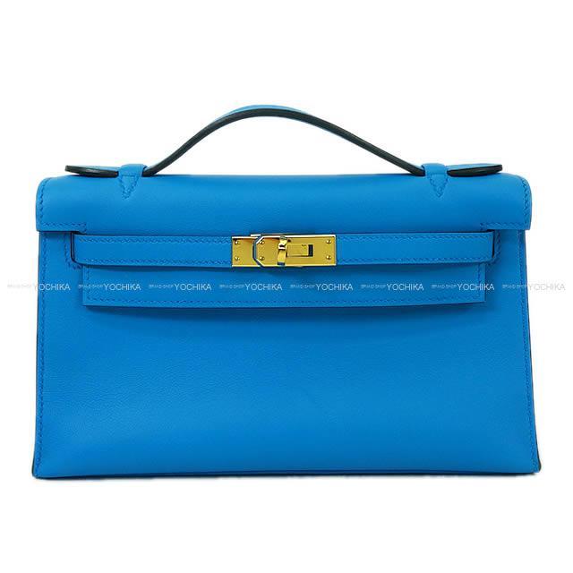 HERMES エルメス ハンドバッグ ポシェットケリー ブルーザンジバル スイフト シルバー金具 新品同様【中古】 ([Pre-loved]HERMES handbag Kelly Pochette Bleu Zanzibar Swift SHW[Near mint][Authentic])【あす楽対応】#yochika