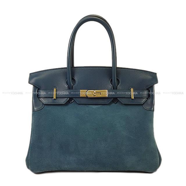【ご褒美に★】HERMES エルメス バーキン30 ブルータラサ グリズリ(スエード)Xスイフト 新品同様【中古】 ([Pre-loved]handbag Birkin30 Blue Tharassa Grizzly(suede)/Swift[Near mint])【あす楽対応】#yochika