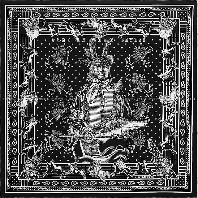"""【ご褒美に★】HERMES エルメス バンダナ カレ55 """"パウニー族の首長"""" 黒X白 シルク100% 新品未使用 (HERMES Bandana Carre 55 """"Pani La Shar Pawnee"""" Black/White Silk100%[Never used][Authentic])【あす楽対応】#yochika"""