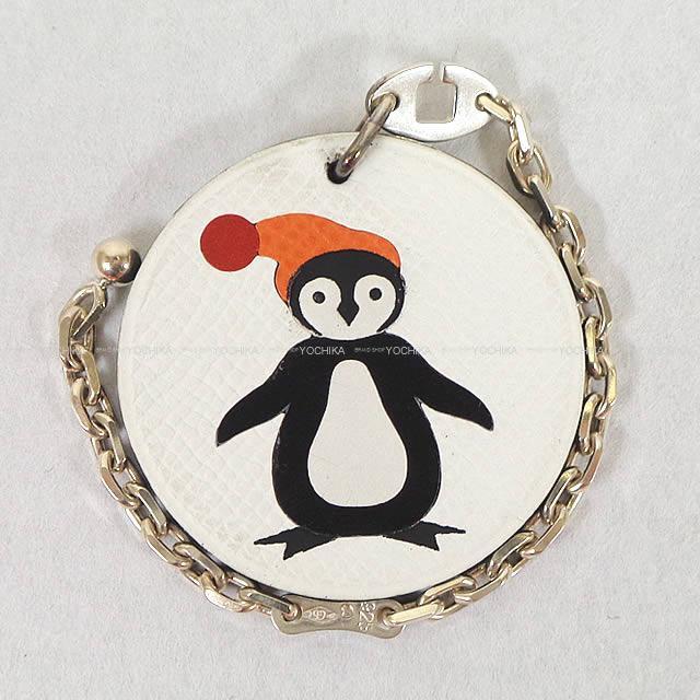 """【ご褒美に★】HERMES エルメス アニマルモチーフ """"ペンギン"""" キーホルダー 白X黒 エプソン 新品同様【中古】 ([Pre-loved]HERMES Animal Motif """"Penguin"""" Keyholder White/Black Epsom [Near Mint][Authentic])【あす楽対応】#yochika"""