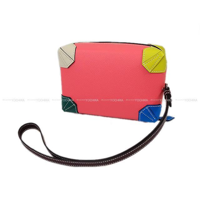 【ご褒美に★】2017年春夏限定 HERMES エルメス ポシェット クラッチ ポーチ マキシボックス ミニ マルチカラー エプソン シルバー金具 新品 (HERMES Pochette clutch bag Maxibox mini Multicolor Epsom SHW[Brand New][Authentic])【あす楽対応】#yochika