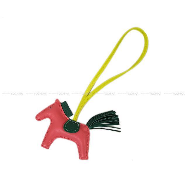 """2017秋冬 新作 HERMES エルメス バッグチャーム """"ロデオ/RODEO"""" PM ローズアザレXマラカイトXライム アニューミロ(ラム) 新品 (2017AW NEW HERMES bag charm """"Rodeo""""PM Rose Azalee/Malachite/Lime Agneau Milo[Brand new][Authentic])【あす楽対応】#yochika"""