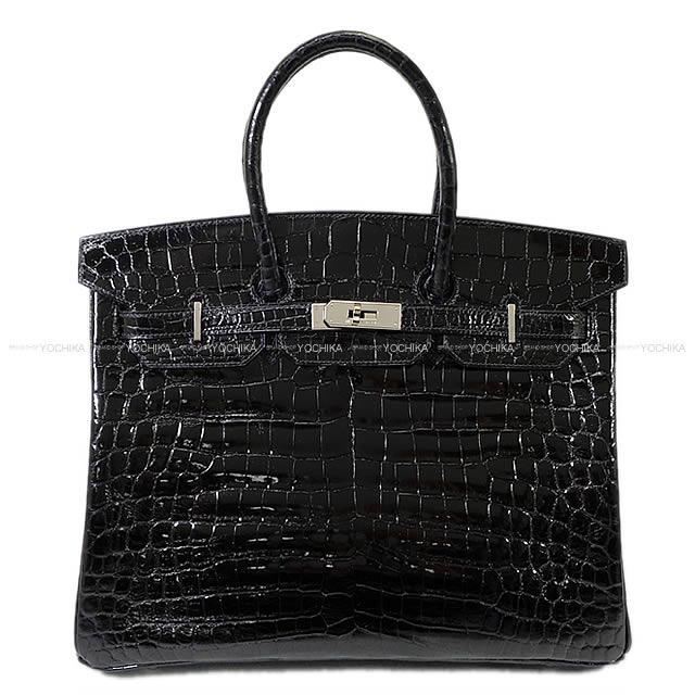 【ご褒美に★】HERMES エルメス ハンドバッグ バーキン35 黒 ニロティカスシャイニー シルバー金具 新品同様【中古】 ([Pre-loved]HERMES Handbag Birkin35 Black Crocodile Niloticus SHW[Near mint][Authentic])【あす楽対応】#yochika