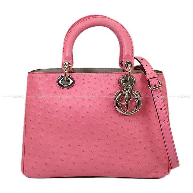 "Christian Dior ディオール 2way ショルダー バッグ ""ディオリッシモ ラージ"" ピンクXグレー オーストリッチ 09MA0142 新品同様【中古】 (Christian Dior 2way Shoulder bag ""Diorissimo Large"" Pink/Gray Ostrich 09MA0142[Near mint][Authentic])【あす楽対応】#yochika"