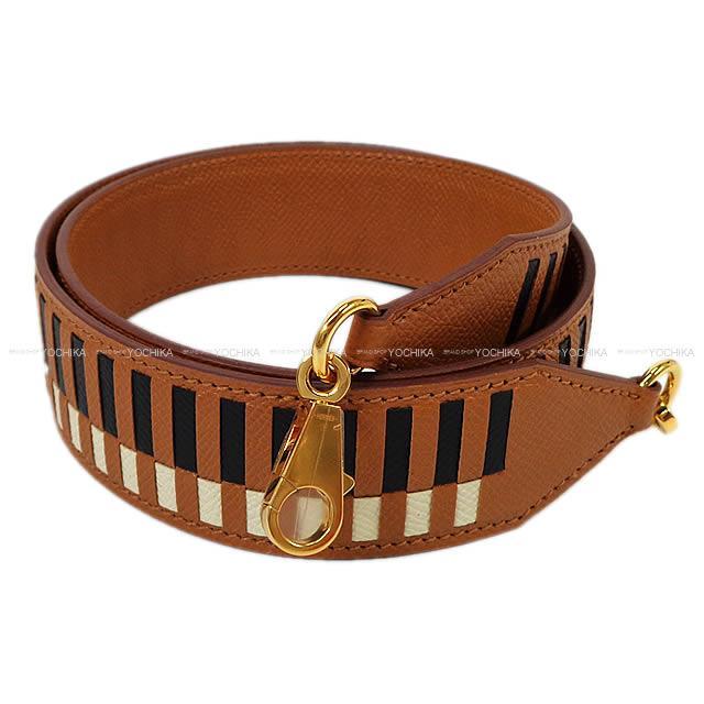 """2017年秋冬 エルメス """"バンドリエール トレサージュ ドゥ キュイール 40"""" ショルダーストラップ 85cm ゴールド×黒×クレ エプソン 新品 (HERMES """"Bandouliere Tressage cuir 40"""" shoulder strap Gold/Black/Craie Epsom[Brand New][Authentic])【あす楽対応】#よちか"""
