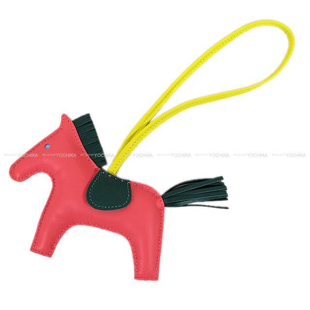 """【自分へのご褒美★】HERMES エルメス バッグチャーム """"ロデオ/RODEO"""" MM ローズアザレXライムXマラカイト アニューミロ(ラム) 新品未使用 (HERMES Bag Charm """"Rodeo"""" MM Rose Azalee/Lime/Malachite Agneau Milo[Never used][Authentic])【あす楽対応】#yochika"""
