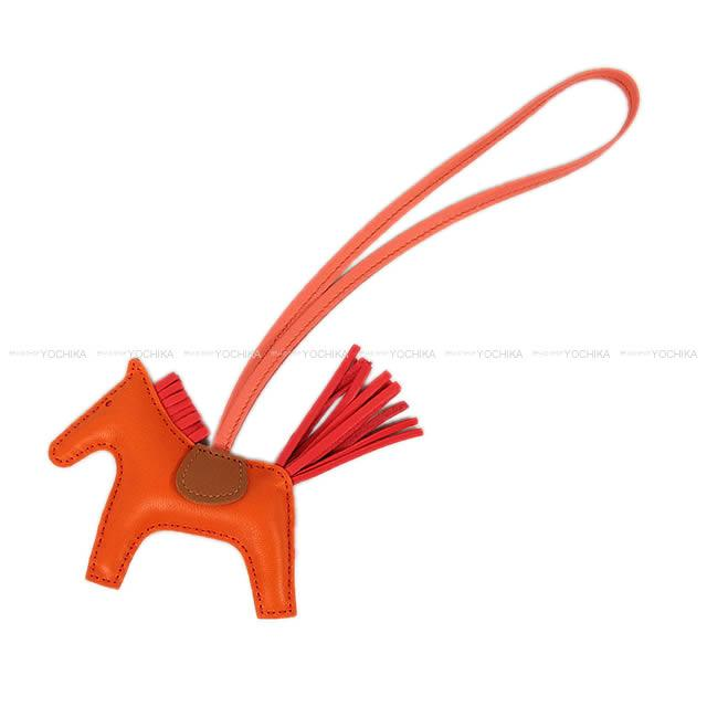 """【ギフトに♪】HERMES エルメス バッグチャーム """"ロデオ/RODEO"""" PM オレンジXブーゲンビリアXゴールドXフラミンゴ アニューミロ(ラム) 新品 (HERMES bag charm """"Rodeo"""" PM Orange/Bougainvillier/Gold/Flamingo Agneau Milo[Brand new][Authentic])【あす楽対応】#yochika"""