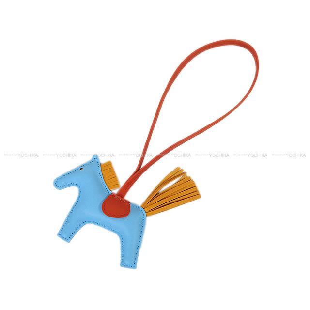 """【父の日ギフト★】HERMES エルメス バッグチャーム """"ロデオ/RODEO"""" PM セレステXブトンドールXコーネリアン アニューミロ(ラム) 新品 (bag charm """"Rodeo"""" PM Celeste/Bouton d'or/Cornelian)【あす楽対応】#yochika"""