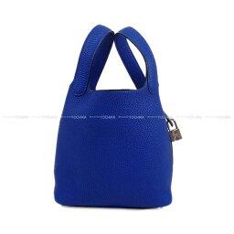 HERMES愛馬仕手提包微微舌頭鎖頭18 PM buruerekutorikkutoriyonshiruba金屬零件新貨(HERMES Handbag Picotin Lock 18 PM Blue Electric Taurillon Clemence SHW[Brand new][Au..