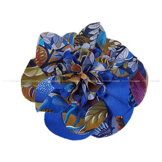 "HERMES 헤르메스 꽃다발 브로치""후로라""블루 실크 100%실버 쇠장식 신품(2015 FW NEW HERMES Corsage Brooch ""FLORA"" Blue Silk100% SHW)#yochika"