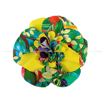 "HERMES 에르메스 코 사지 브 로치 ""플로 라"" 청록색 실크 100% 신품 (HERMES Corsage Brooch ""FLORA"" Turquoise Silk100% [Brand new \ Authentic]) #yochika"