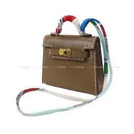【ご褒美に★】HERMES エルメス ミニミニ バッグチャーム ケリートゥイリー(ツイリー) エトープ(エトゥープ)タデラクト ゴールド金具 新品 (HERMES MiniMini bag charm Kelly Twilly Etoupe Veau Tadelakt GHW[Brand new][Authentic])【あす楽対応】#yochika