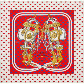 """【ご褒美に★】2019年春夏 HERMES エルメス スカーフ カレ90 """"ブリッドドゥガラ ラヴ"""" ハート柄 ルージュヴィフXマリンX白(ホワイト) シルク100% 新品 (HERMES Scarf Carre 90 """"Brides de Gala Love"""" Rouge vif/Marine/Blanc Silk[Authentic])【あす楽対応】#yochika"""