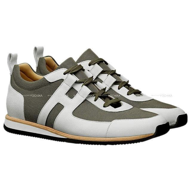 """【母の日ギフト!】HERMES エルメス メンズ スニーカー """"パートナー"""" カーキX白(ホワイト) エプソンXトワルテクニックナイロン #43 新品 (HERMES Sneaker for Men """"Partner"""" Khaki/White Epsom/Toile Technique Nylon #43[Brand new][Authentic])【あす楽対応】#よちか"""