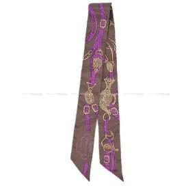 """【エントリーでポイント10倍★7/21-26迄】HERMES エルメス ツイリー スカーフ """"ブリッド・ドゥ・ガラ"""" ヴァイオレットXショコラ シルク100% 新品未使用 (HERMES Twilly Scarf """"Brides de Gala"""" Violet/Chocolate Silk100%[Never used][Authentic])【あす楽対応】#よちか"""