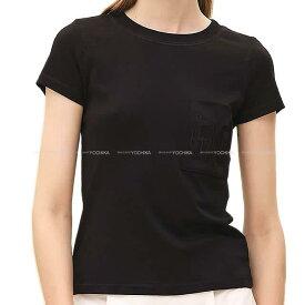 """【ご褒美に★】HERMES エルメス レディース Tシャツ カットソー 刺繍ポケット付き """"Poche Brodee"""" 黒(ブラック) コットン #40 新品 (HERMES Lady's T-shirt cut embroidered pocket """"Bolduc au Carre"""" Black #40 Cotton[Brand new][Authentic])【あす楽対応】#よちか"""