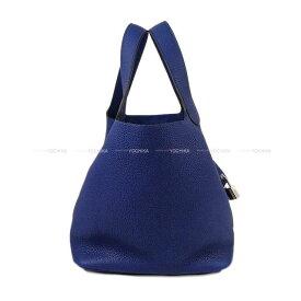 【 キャッシュレスポイント還元★】HERMES エルメス ピコタンロック 22 MM ブルーサファイア(ブルーサフィール) トリヨンモーリス シルバー金具 新品 (Hermes Handbag Picotin Lock 22 MM Blue Saphir Taurillon Maurice SHW[Brand New][Authentic])【あす楽対応】#よちか